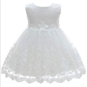 Flower girl/christening/baptism lace white dress